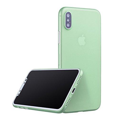 doupi UltraSlim AllClear TPU Funda para iPhone X ( iPhone 10 ) [ Carga inalámbrica Soportada ] Ligero estuche projoector Cover Case, transparente verde