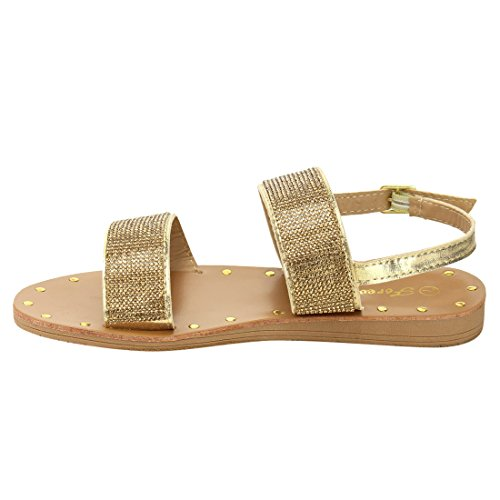 Forever If61 Dames Stud Wide Strap Buckle Sandaal Champagne