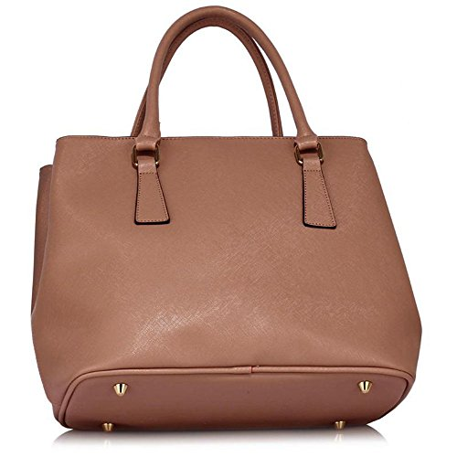 LEESUN LONDON - Bolsa Mujer, color azul, talla L X - Nude/White