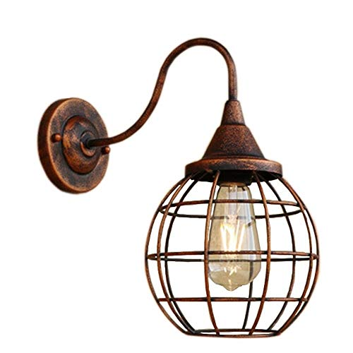Yaione American Industry Lantern Wall Lamp Round Iron Art Lampshade Spherical Wall Light Suitable for Garage Corridor Attic Industry Square Decoration Wall Sconce E27 Length: 330mm ()