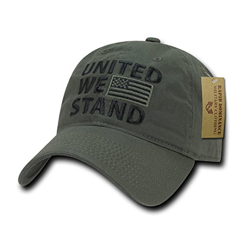(Rapid Dominance Polo Style USA Caps, United We Stand, Olive)