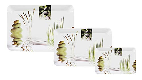 Cloudsell Serving Tray Set with Rectangular Shape, Melamine, Printed Design, Natural, Pack of 3 Tray Set Price & Reviews