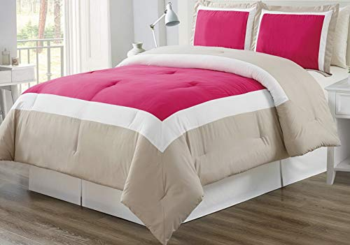 Hemau Premium New Soft 3 Piece HOT Pink/Light Grey/White Goose Down Alternative Color Block Comforter Set, Queen Size Microfiber Bedding, Includes 1 Comforter and 2 Sha | Style 503194644