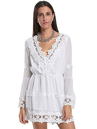 Choies Women's Cotton Casual V Neck Applique Trims Flare Sleeve Mini Dress 6