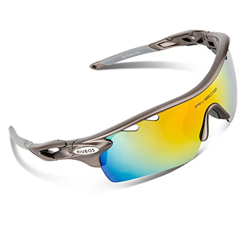 RIVBOS¨ 801 Polarized Sports Sunglasses with 5 Interchangeable Lenses for Men Women Cycling Running Glasses