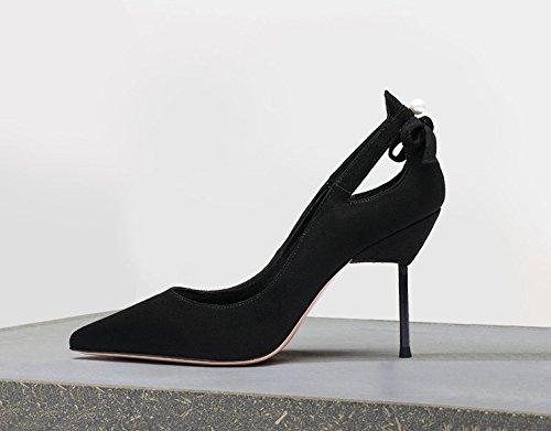 Hollowed Elegant Shoes Shallow 7Cm Out Women'S Lady Sharp MDRW 37 Shoes Work Single Fine Leisure Heels Black Mouth Ladies High Spring Heels 5PWBwHq