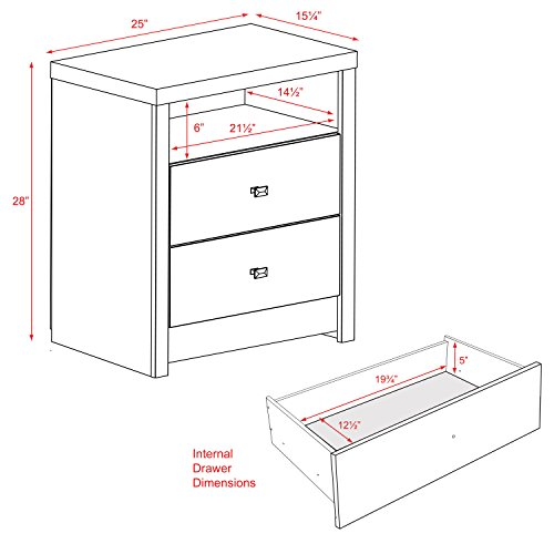 home, kitchen, furniture, bedroom furniture,  nightstands 2 picture Prepac Calla Tall 2 Drawer Nightstand, White deals