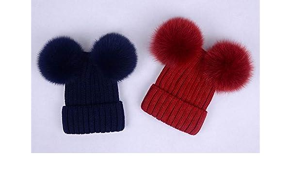 Amazon.com  Double Fur Balls Beanies Puffy Hat Girl s Fluffy Hat Women Cute  Pompoms Hats Navy Red Black  Handmade 8b4a8073815
