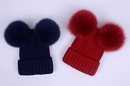 Amazon.com  Double pom poms Beanies Wool Hat Girls Double Puffs Ball Women  Hats Kit Real Fox Furry  Handmade 9ae929b31e8