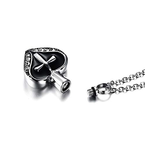 Necklace for Men Womens Cross Heart Cremation Urn Pendant Memorial Ash Keepsake Stainless Steel Cubic Zirconia Necklace for Female Jewelry 20