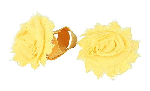 JTC a Pair Newborn Baby Sandals Shoes Barefoot Sock Shoes Flowers Yellow