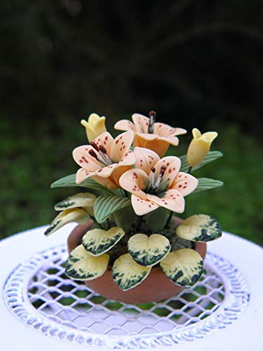 - Miniature Dollhouse Fairy Garden ~ Tiger Lily Flowers in Planter Pot ~ NEW