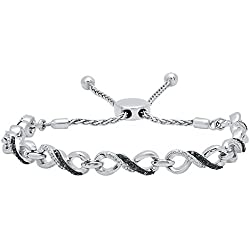 0.18 Carat (ctw) Sterling Silver Round Blue & White Diamond Ladies Infinity Tennis Link Bracelet