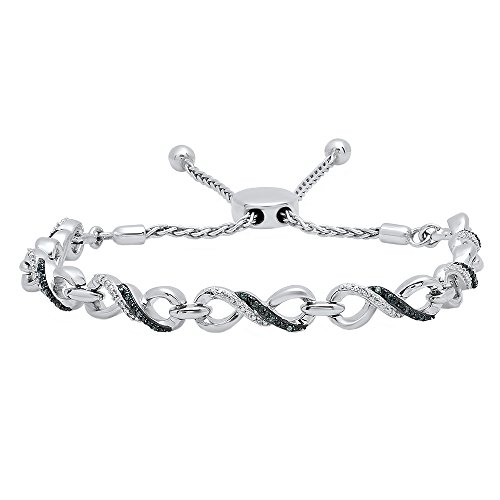 0.18 Carat (ctw) Sterling Silver Round Blue&White Diamond Ladies Infinity Tennis Link Bracelet