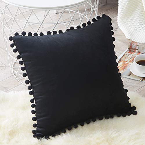 Price comparison product image Top Finel Decorative Throw Pillow Covers with Pom Poms Soft Particles Velvet Solid Cushion Covers 18 X 18 for Couch Bedroom Car, Pack of 1, Black