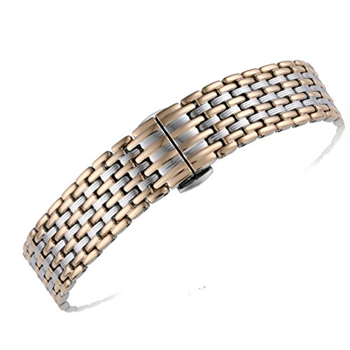 18mm Women's Luxury Unique Elegant Two Tone Silver/Rose Gold Watch Bands Replacements Solid 316L Stainless Steel Pleated Pattern ()