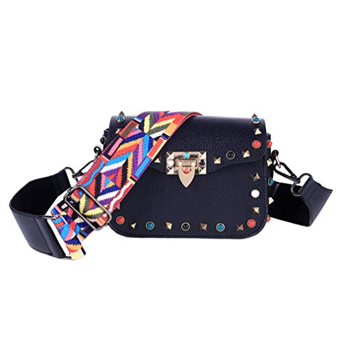 ANANXILA Women's Retro Shoulder Bags Colorful Strap Rivet Flap Messenger Bags Black