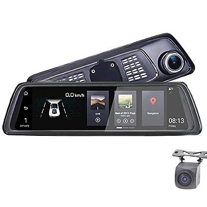 """ZMM Doble Dash CAM 10""""Touch Android cámara del Coche con GPS Espejo retrovisor DVR"""