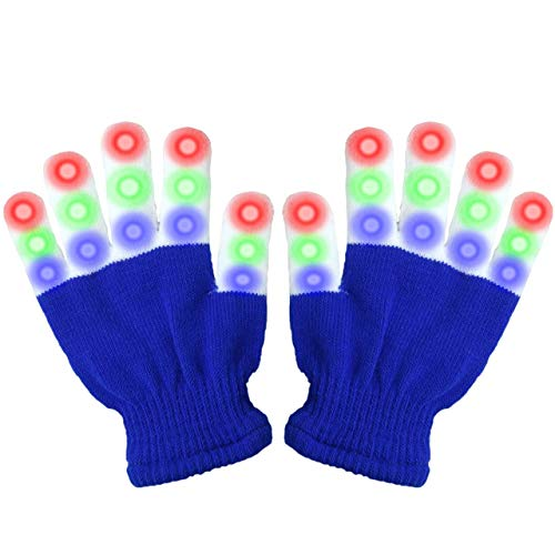 Party Favors for Kids, Viposoon Children LED Finger Light Gloves Cool Toys for 3-12 Year Old Kids Boys Girls Best Gifts 2019 Christmas Gifts for Kids Boys Girls 4-12 Easter Gifts LED Flashing Glvoes - Blue (Christmas Lights Ideas 2019)