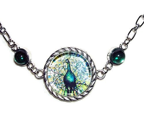 PEACOCK BIRD NECKLACE Stained Glass Look Illustration GLASS CABOCHON Altered Art Silver Pltd