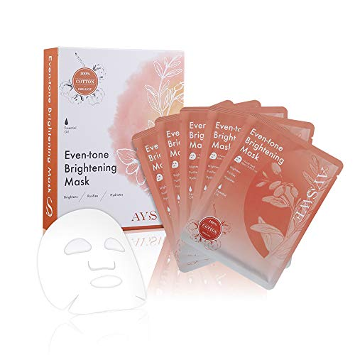 AYSWE Even-tone Brightening Face Mask Sheet with Hydrating Anti-aging Serum, Organic Natural Ingredients to Lighten Age Spots, Box of 5 Facial Masks for Even Sensitive Skin