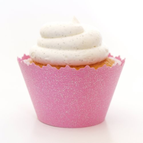 (Glitter Colored Cupcake Wrappers - Set of 12 (Glitter Bubblegum Pink))