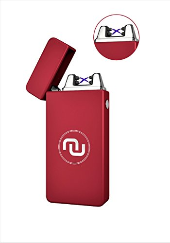 Novelty Wares - 8 Colors - USB Flameless Plasma Dual Arc Rechargeable Windproof Cigarette Lighter with Charging Cable and Gift Box (Matte Red) Rechargeable Electronic Cigarette Kit