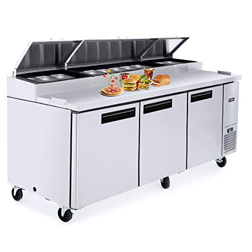 Three Door Refrigerated Pizza Prep Table, Kitma 93 Inch Refrigerator with Shelves and 12 Pans