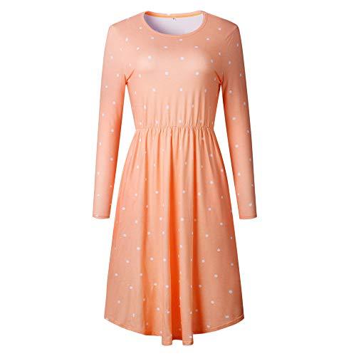 JESPER Women Swing Casual Dot Printing Round Neck Dress Long Sleeve Evening Party Dress Orange by JESPER (Image #2)
