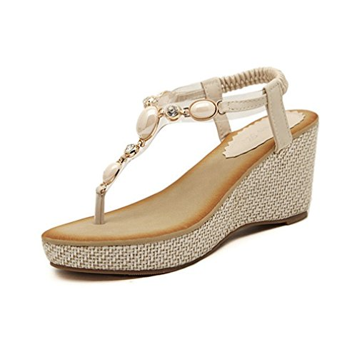 CYBLING Fashion Bohemian Women High Heels Wedge Sandals Shoes Beige Phpt3pettx