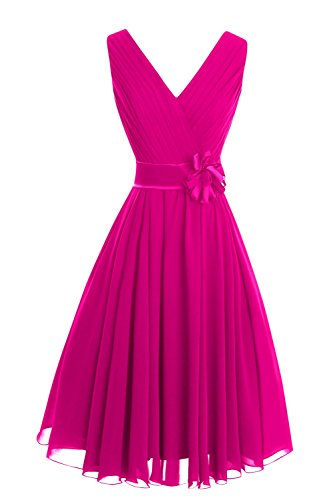 Short Bridesmaid Party Dresses Women's Chiffon Fuchsia Line Neck Bess A V Bridal f8ppwqY
