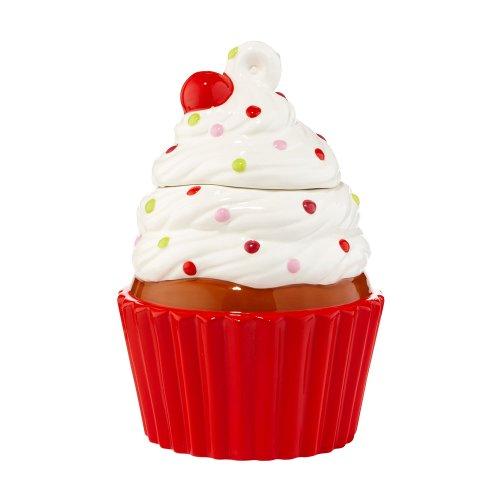 Department 56 Christmas Trim Cupcake Cookie Jar, 10-Inch