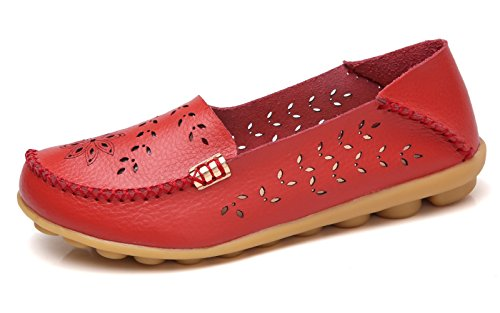 VenusCelia Women's Breathable Natural Walking Flat Loafer(11 M US,red) -