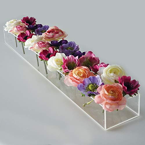 """Flower Vase, Vase Rectangular Centerpiece for Dining Table, Modern Clear Vase for Home Decor Or Wedding, Decorative Flower Center Piece,24"""" Long X 4"""" Wide, Low Laying Acrylic Bud Planter ()"""