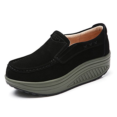 STQ-NSS2122heise38 Women Slip On Suede Loafers Casual Platform Moccasion Shoes WedgeSneakers Black 6.5 B(M) US