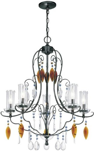 Lite Source C7947 Fiorenza 5-Lite Chandelier, Dark Bronze and Crystal