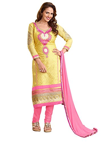 Khushali Women Embroidered Unstitched Salwar Suit (Yellow)