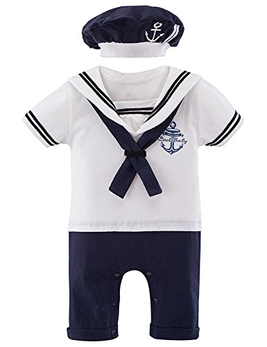 [Mombebe Baby Boys' 2 Pieces Sailor Romper Outfit (6-12 Months, White)] (White Party Outfit Ideas)
