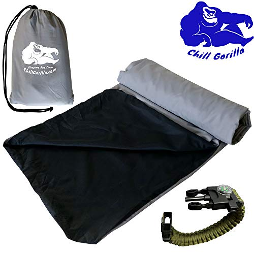 Chill Gorilla Sleeping Bag Liner. Travel & Camping Sheet for Warmth Comfort & Cleanliness. Sleep Sack for Outdoors, Backpacking, Planes, Trains, Hotels & Hostels. Sleeping Bag Accessories. Grey ()