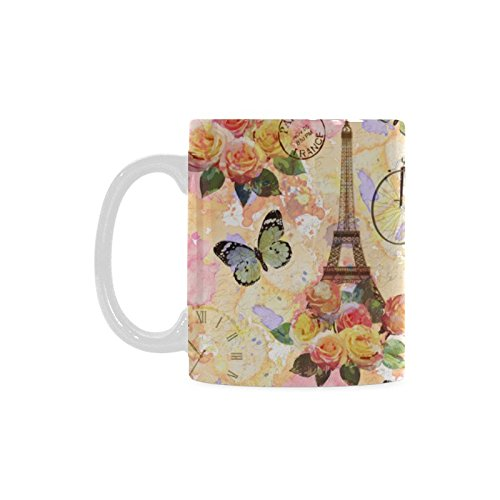 - InterestPrint 11 Ounce Vintage Paris Eiffel Tower Ceramic Travel Coffee Mug White Tea Cup, Antique Bicycle Flowers Butterfly Coffee Mug Gift for Kids Women Girl Friends