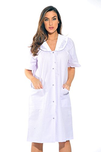 (8511-Purple-S Dreamcrest Short Sleeve Duster/Housecoat / Women Sleepwear)