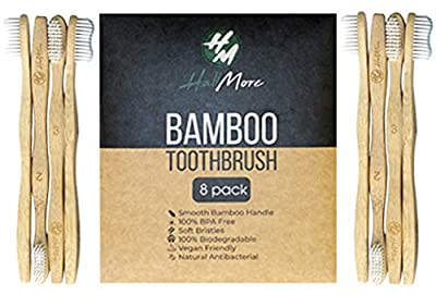 HallMore Bamboo Toothbrush| Eco-Friendly & Biodegradable Toothbrushes With BPA Free Soft Wavy Bristles | Natural toothbrushes Individually Packed and Numbered