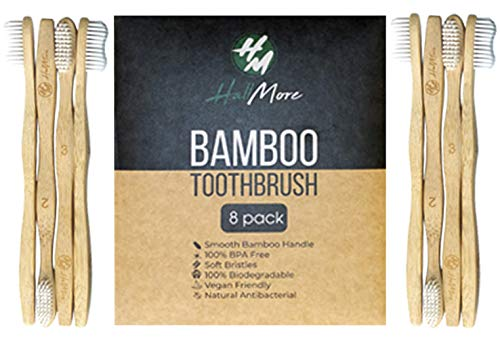 HallMore Bamboo Toothbrush,Biodegradable Soft Bristles Toothbrushes, 8 Pack