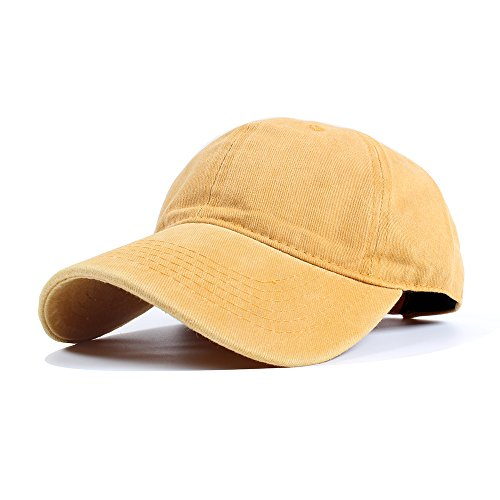 Vankerful Unisex Vintage Washed Dyed Dad Hat Plain Cotton Twill Low Profile Adjustable Solid Colour Baseball Cap Strapback (Yellow) (Unstructured Cap Profile Low)