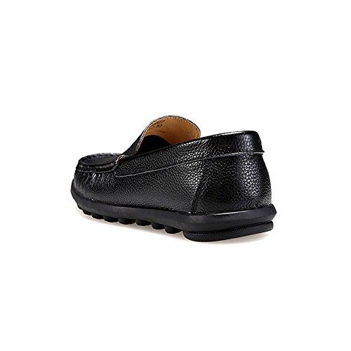 rismart Hommes Glisser Sur Confortable Décontractée Robe Mocassins Chaussures 8377(Noir,EU44.5)