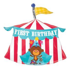 CIRCUS Monkey TENT Big TOP Jungle #1 1st 23u0026quot; Happy Birthday PARTY Mylar BALLOON  sc 1 st  Amazon.com & Amazon.com: CIRCUS Monkey TENT Big TOP Jungle #1 1st 23