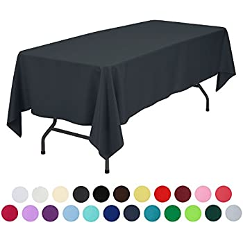 VEEYOO 60 X 102 Inch Rectangular Solid Polyester Tablecloth For Wedding  Restaurant Party , Dark Gray