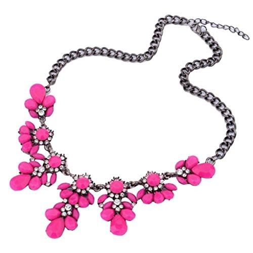 TONSEE Latest Popular 1PC Vintage Flower Crystal Bubble Bib Choker Statement Women Necklace (Hot Pink)