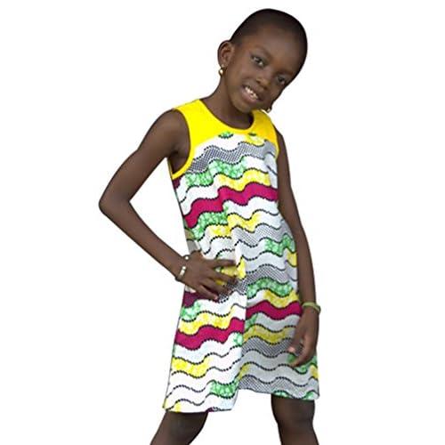 CHENGYANG Bébés Filles Africaine Robe Dashiki Impression Tops Casual Enfants Robes
