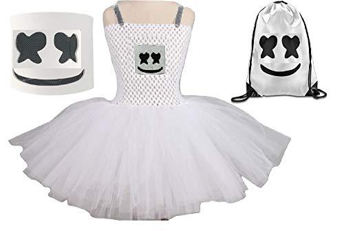 Chunks of Charm Marshmello Costume Tutu Dress from Dot Com (11) White, Black